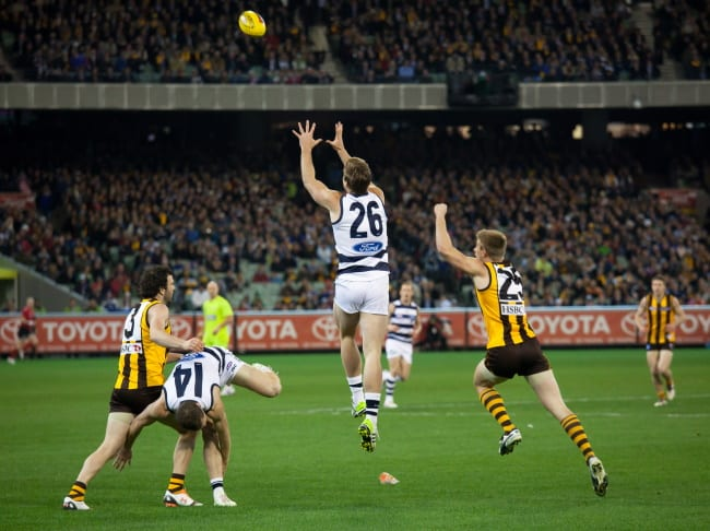 afl match hawkins going for a mark