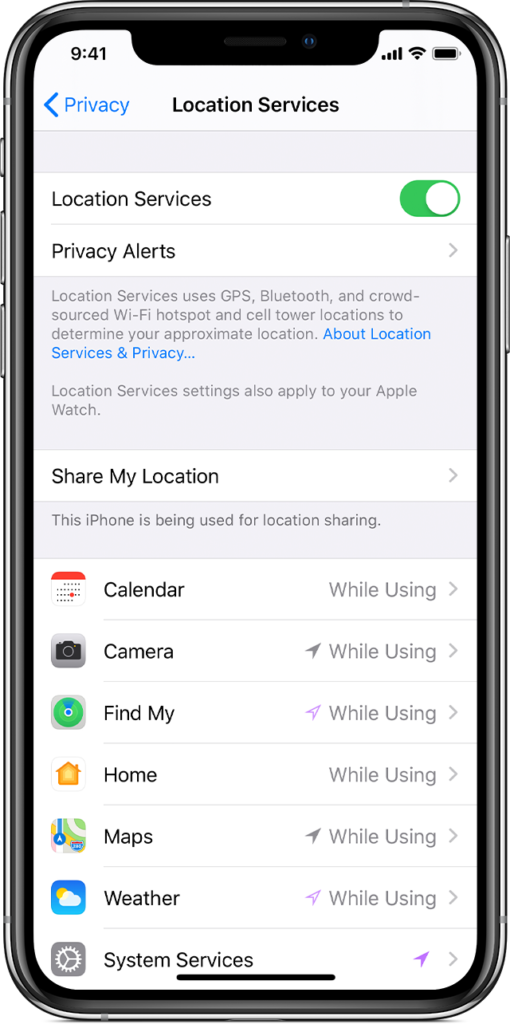 Location Services settings on iOS phone