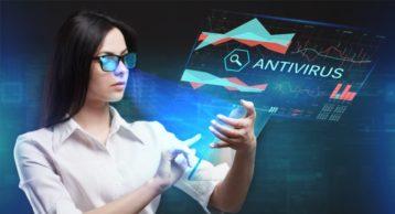 A woman using antivirus through hologram