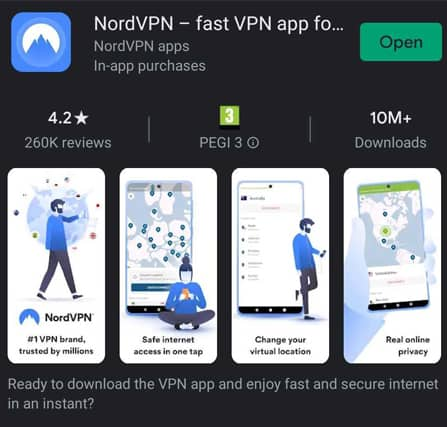 NordVPN Mobile Play Store Screenshot
