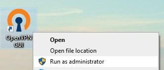 Run open VPN as an administrator