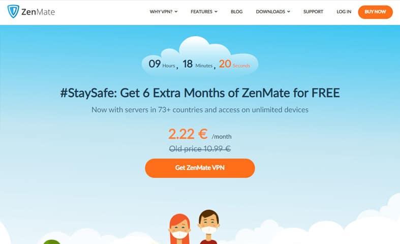 ZenMate VPN homepage screenshot