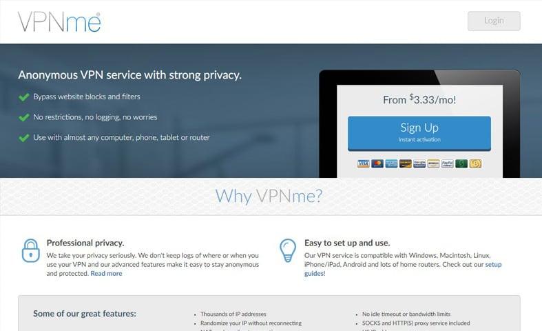 vpnme homepage screenshot