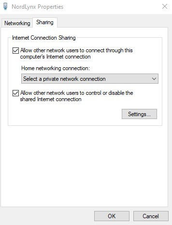 Allow other network users to connect through this computer's internet connection