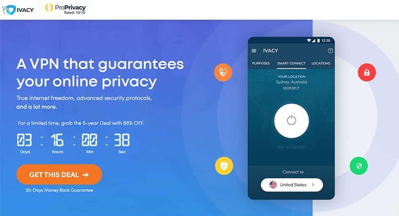 Ivacy VPN homepage