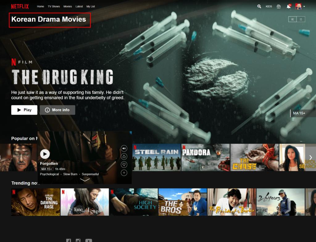 Korean Drama Movies Menue on Netflix