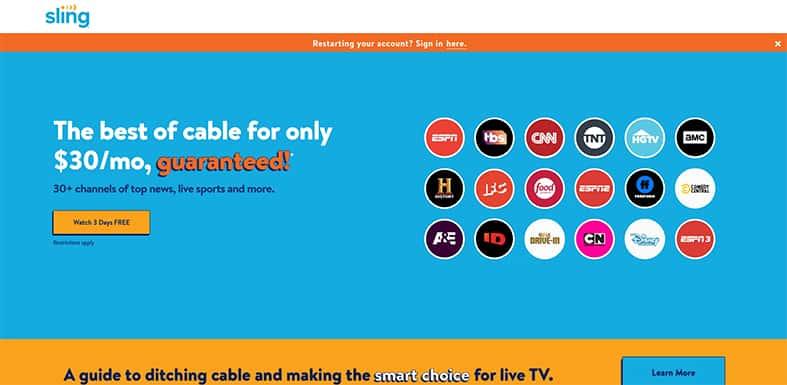 SlingTV Homepage