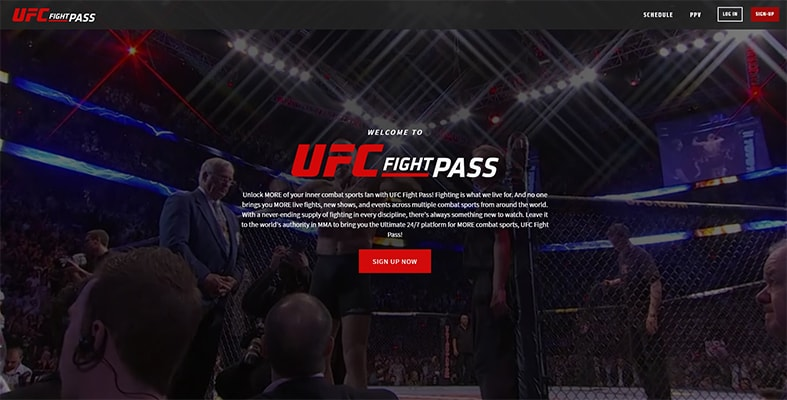UFC Fight Pass Homepage