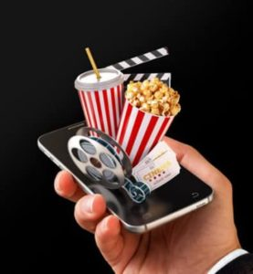 an image of a cinema coming out of a phone device