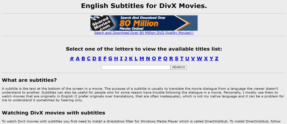 DivX Subtitles homepage