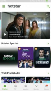 Hotstar featured content on the application on Android