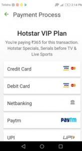 Hotstar payment process