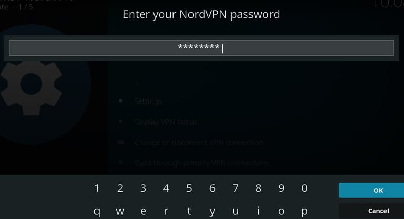 The prompt that asks you for your NordVPN password in Kodi
