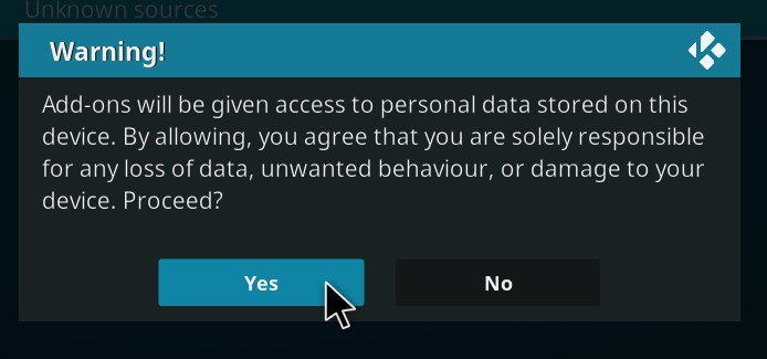 The warning message that pops up on NordVPN about add-ons