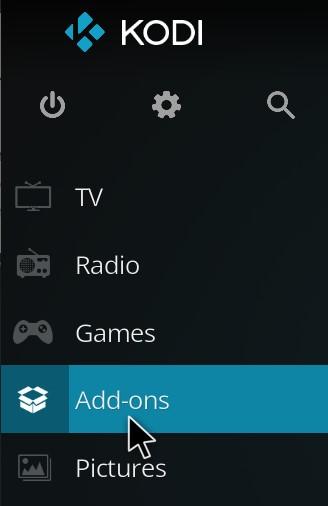 The add-ons menu in Kodi