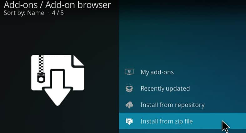 A guide on how to install from a zip file in Kodi