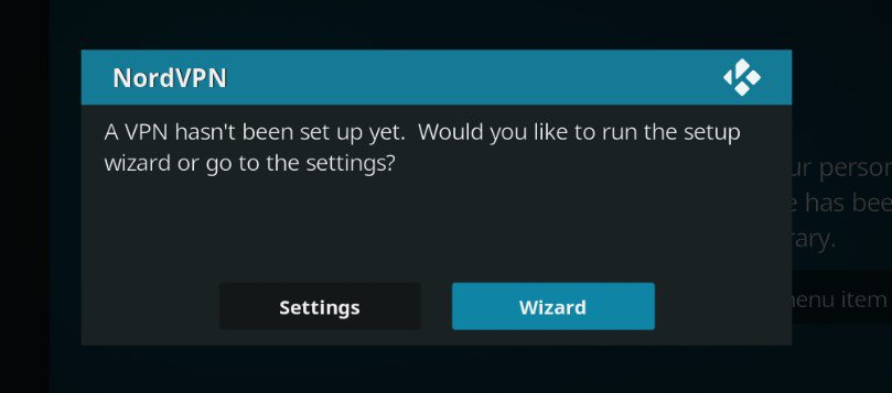 The setup screen for setting up NordVPN through the Wizard