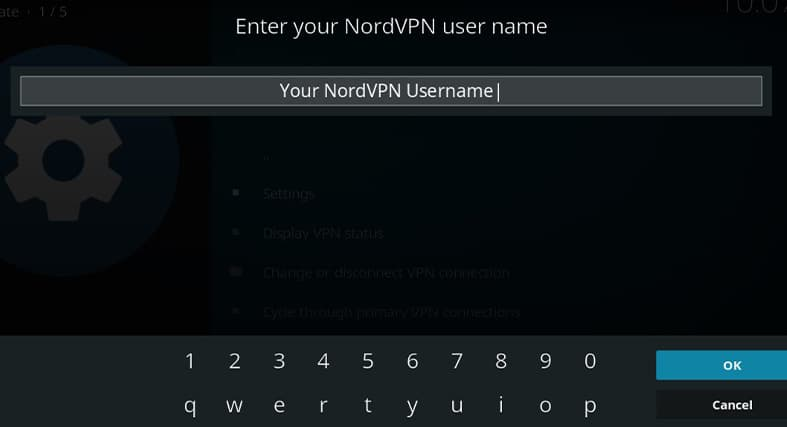 The prompt that asks you for your NordVPN username in Kodi