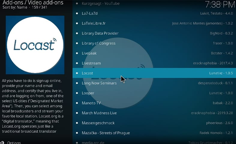 How to install Locast on Kodi Step 6