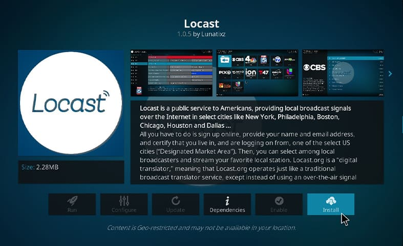 How to install Locast on Kodi Step 7