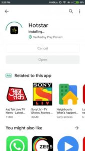 Installing Hotstar through the Playstore