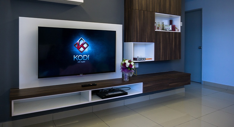 NordVPN Featured Image of Kodi running on a television screen