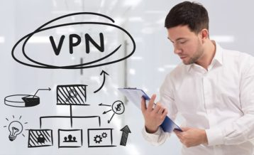 a man pleasantly surprised at all of the benefits he gets from using a vpn wearing a white shirt