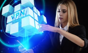 a woman in a black suit and a white shirt embracing the world of vpn through a virtua lreality cube