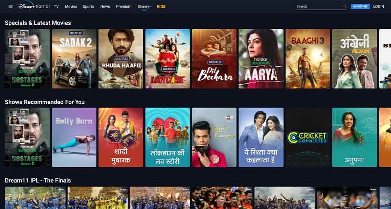Hotstar India homepage screenshot