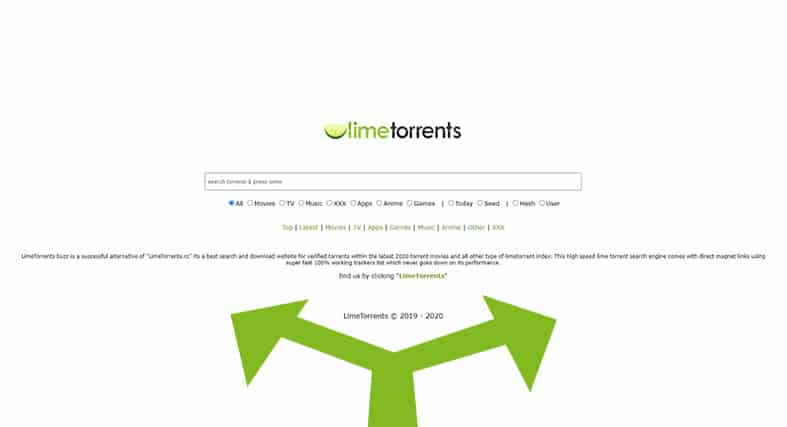 an image showcasing the limetorrents website as well as two locations in green, one going left, one going right, implying there are alternatives