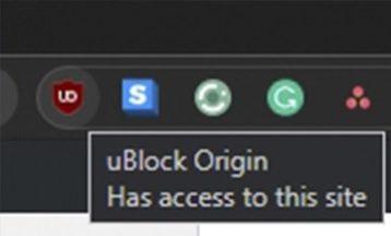uBlock Origin extention running on google chome