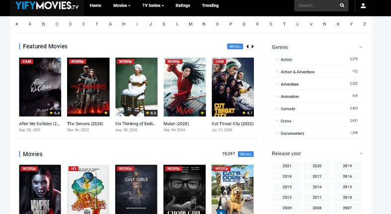 yify movies tv homepage image