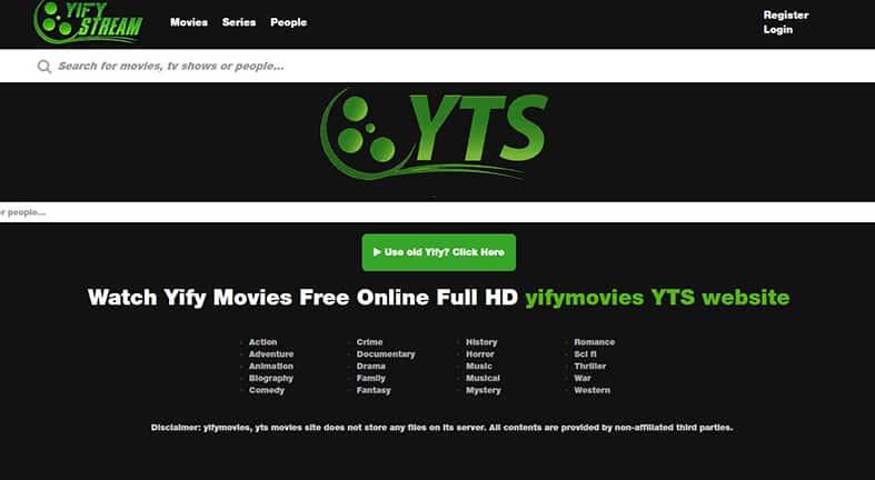 yify stream homepage image
