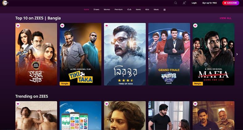 Zee5 homepage screenshot