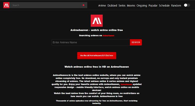 Animeheaven homepage