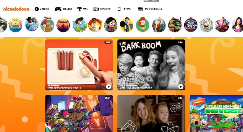 Nickelodeon homepage