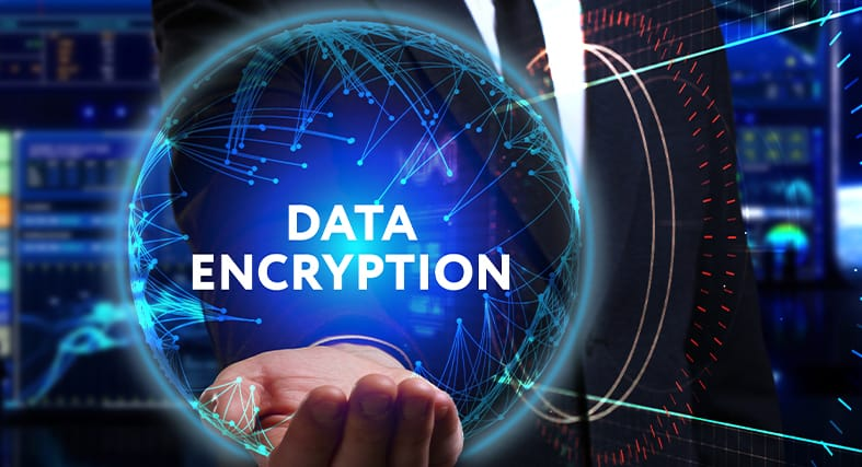 a man holding a hologram globe with the words data encryption on it