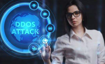 A woman using a DDoS attack circle