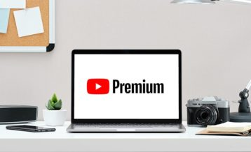 an image of a laptop which has YouTube Premium on it