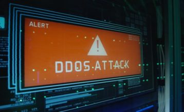 DDoS attack alert with an orange sign