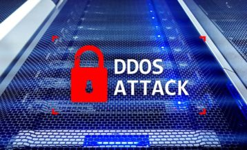 DDoS attack with a red lock on it
