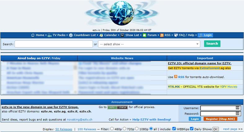 EZTV homepage