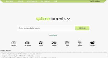 LimeTorrents homepage image