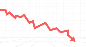 an image of a stock market arrow going downward