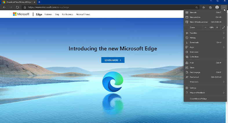 an image showcasing the settings on Microsoft Edge
