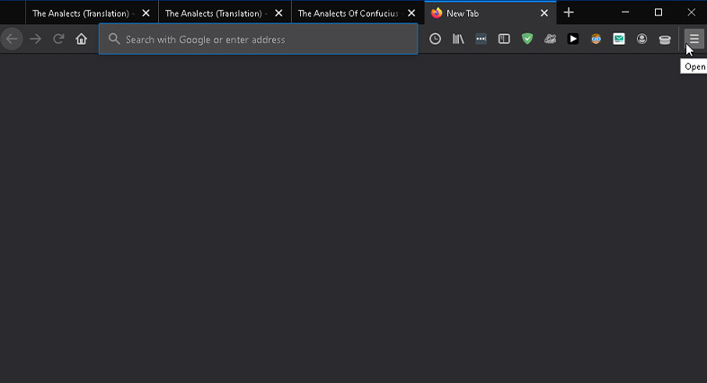 an image of finding the hamburger menu in Firefox