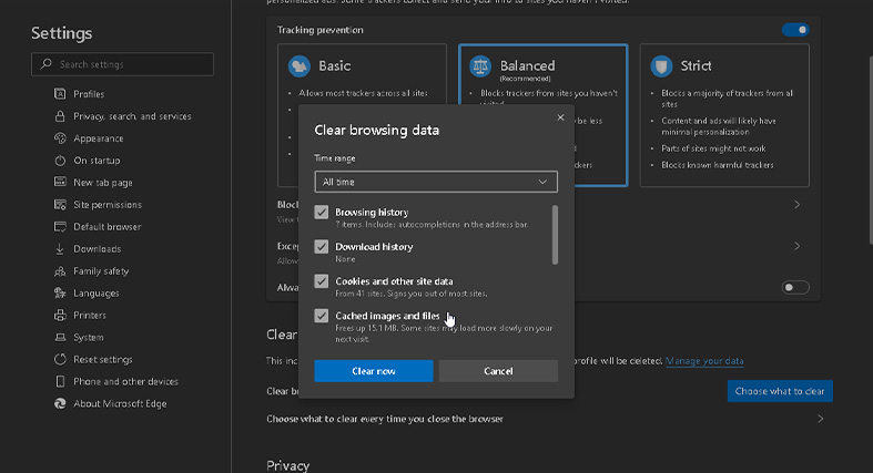 Clearing the browsing data on the Microsoft Edge browser