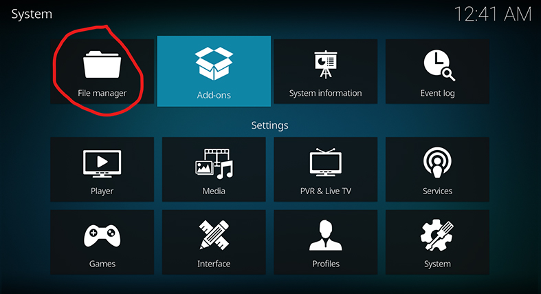 the file manager option in kodi