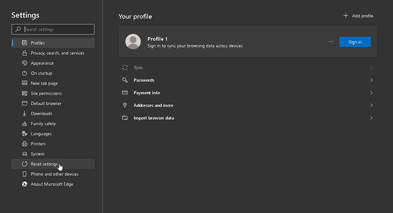 Finding the Reset Settings option in Microsoft Edge