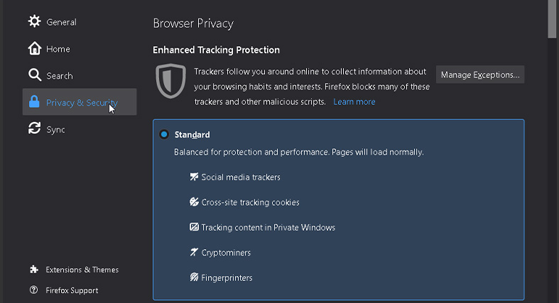 Setting the privacy and security to Standard in Mozilla Firefox